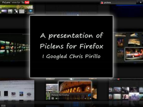 Piclens Screen with YouTube Piclens Search