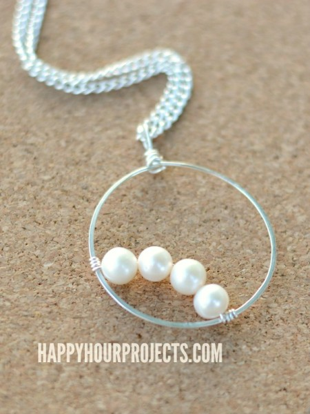 Simple Pearls: Wire Wrapped Frame Pendant at www.happyhourprojects.com