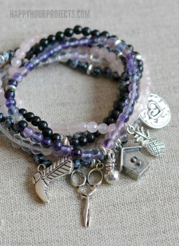 Gemstone Pewter Charm Easy DIY Bracelets Happy Hour
