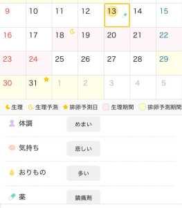 ミチルのカレンダー下の詳細
