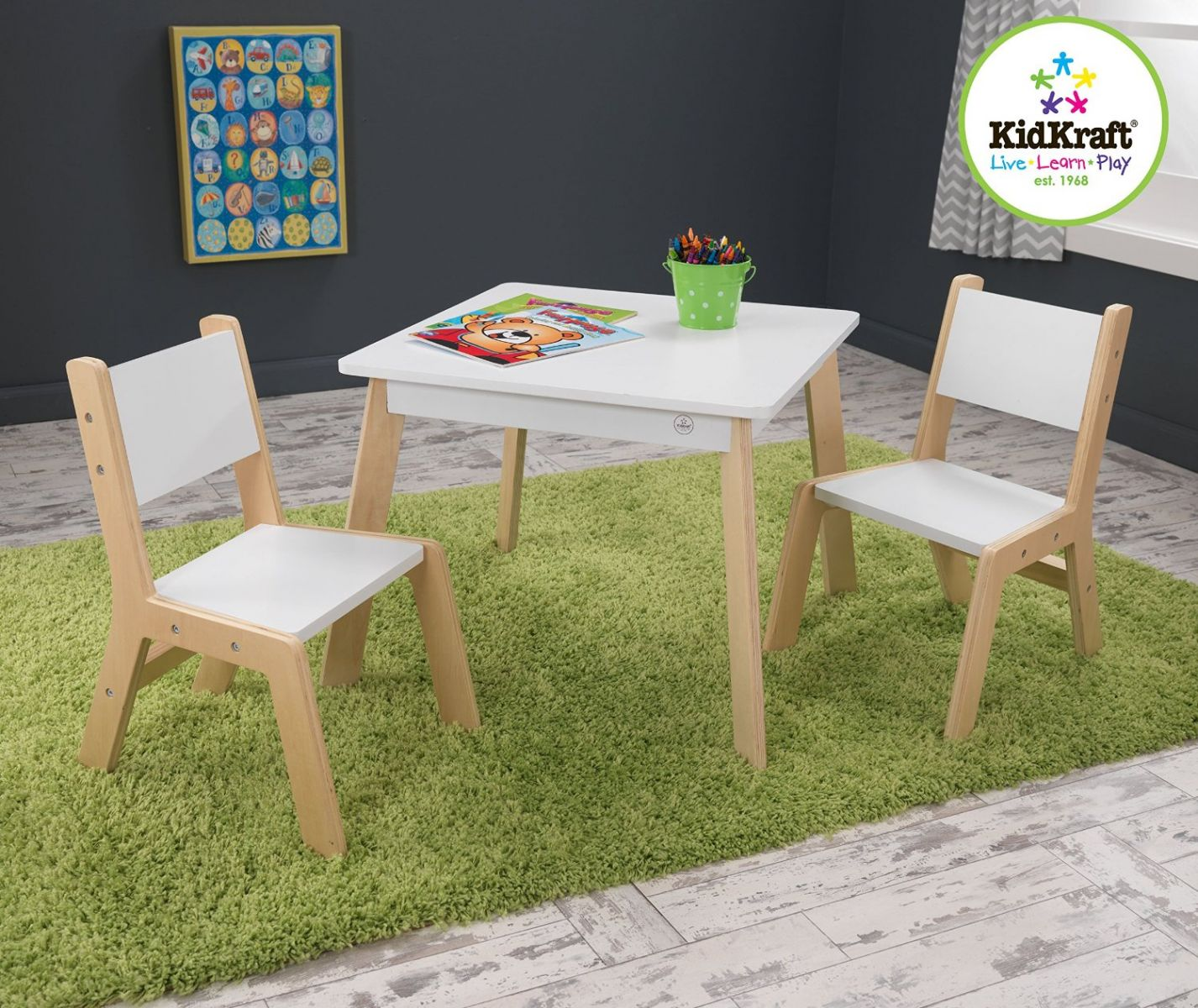 kidkraft white table and chairs rocking chair leather seat modern 2 set ebay