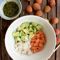 Salmon Avocado Salad with Lychee and Sesame Dressing: Easy, healthy, delicious and fancy salad. Asian classic with a sweet seasonal spin.