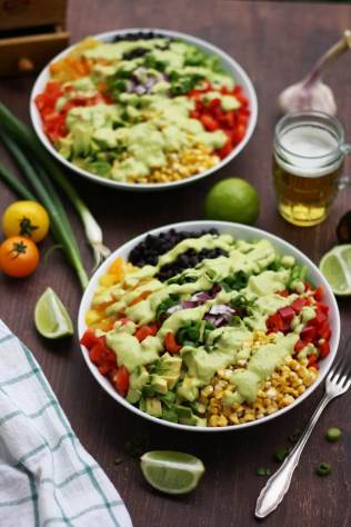 Vegan Mexican Chopped Salad with Avocado Dressing