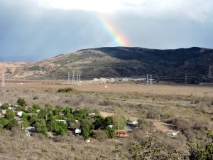 Rainbow over the MOUT site at Camp Pendleton with San Mateo Campground in the foreground