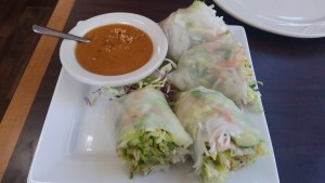 Salad rolls (like spring rolls except without the noodles) - lunch at Thai DK in Portland, OR