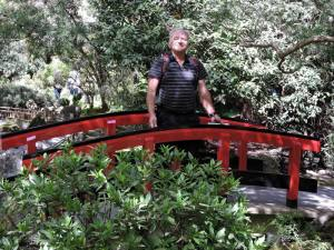 Mike on a bridge in the Japanese Garden