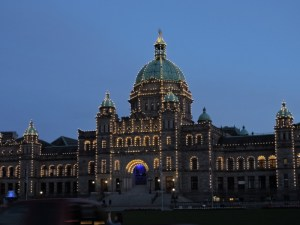 The British Columbia Paliament Building all lit up at night