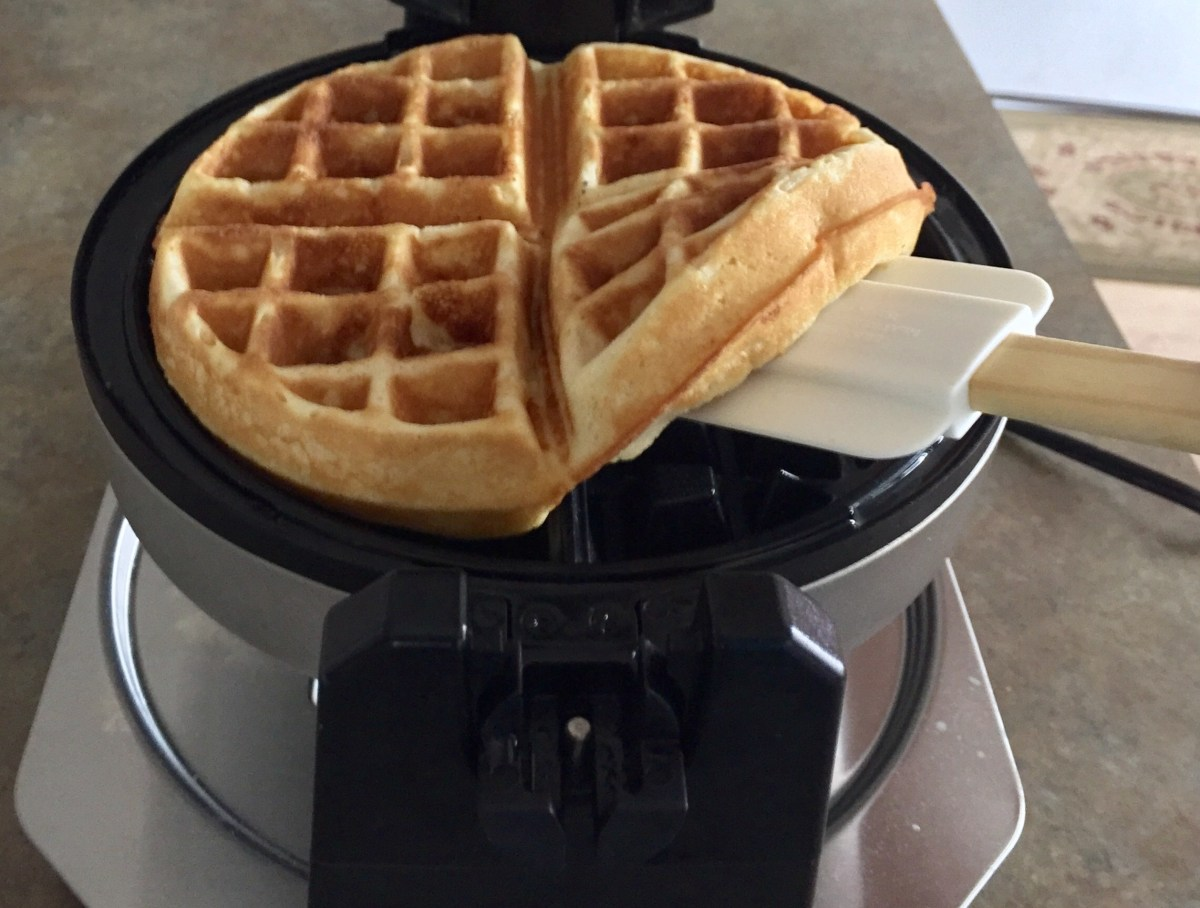 Gently lift the waffle out of the iron and onto your plate.