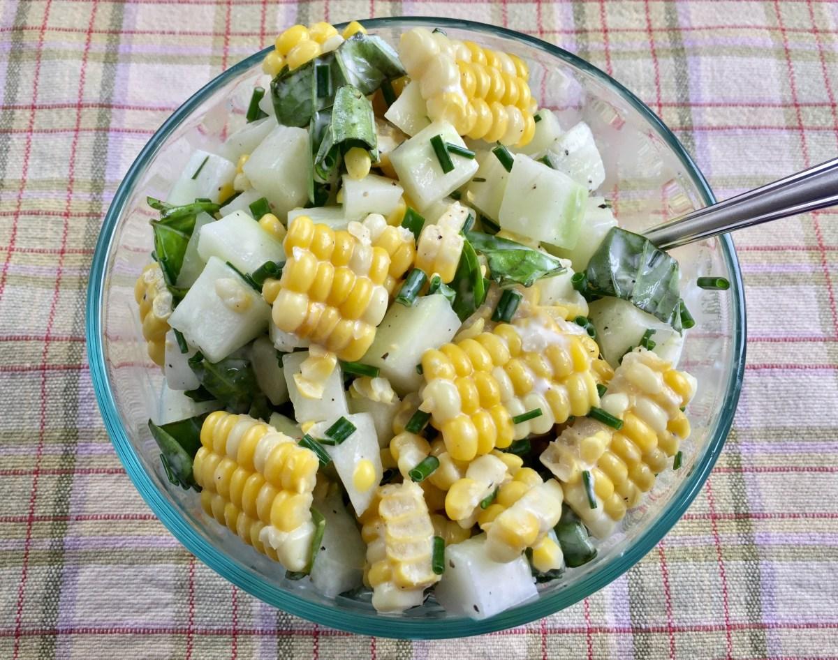Homegrown Cucumber Salad by Happylifeblogspot.com #cucumbersalad #summersalad #cucumberrecipes #cornrecipes