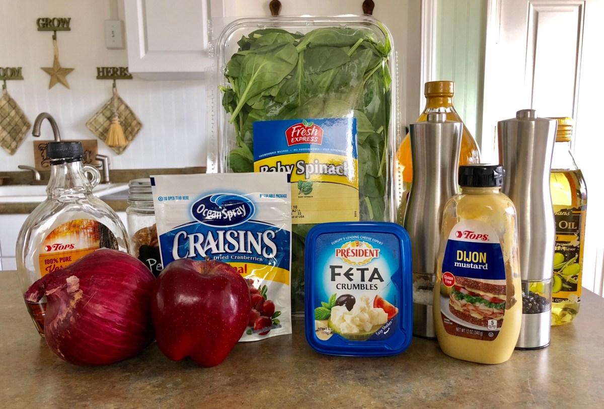 Apple Cranberry Pecan Salad with Maple-Vinegarette ingredients list