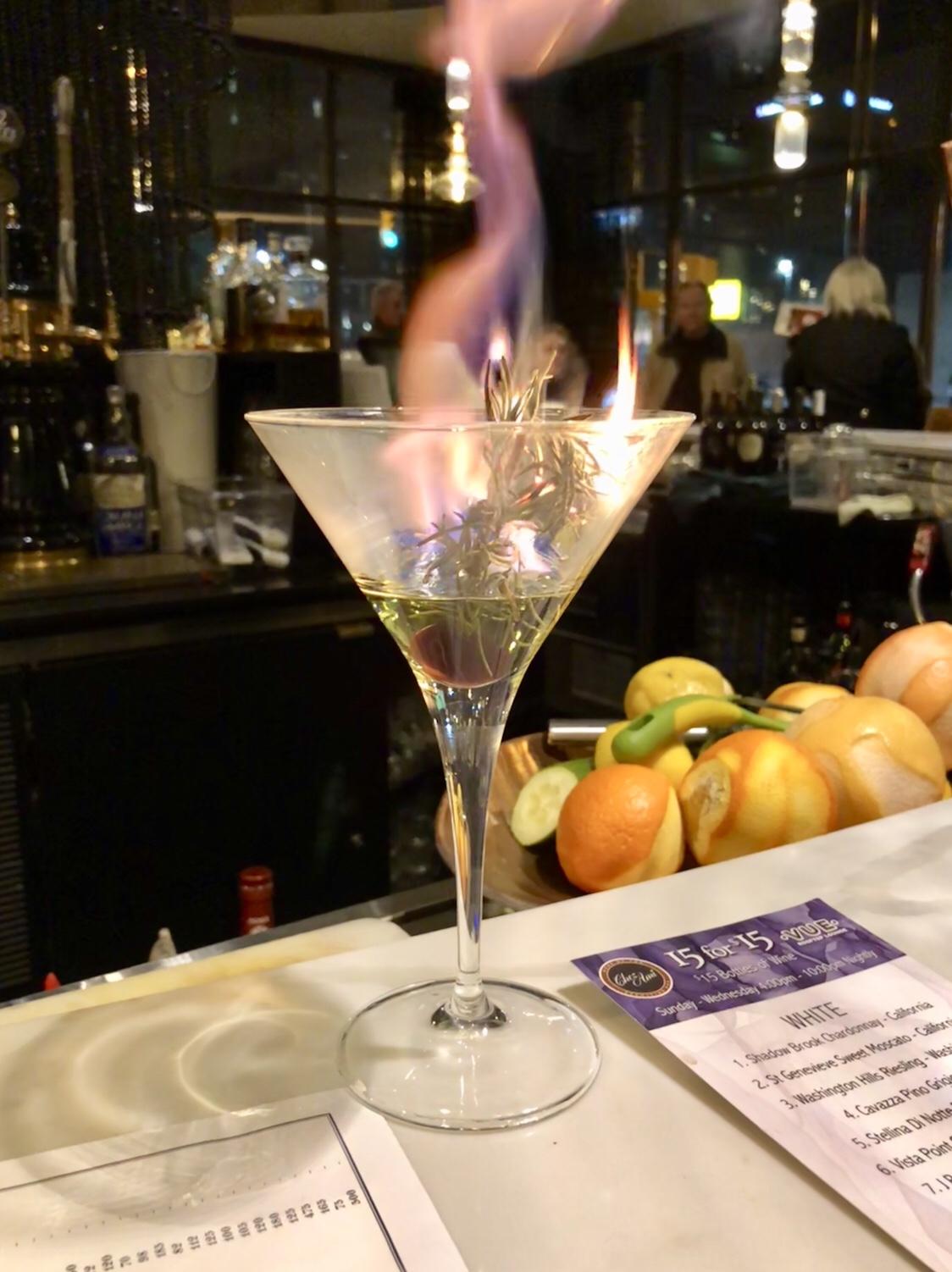 Rosemary Martini | Chez Ami Restaurant #martini #curtisshotel #buffalony #chezami #revolvingbarbuffalo #westernny