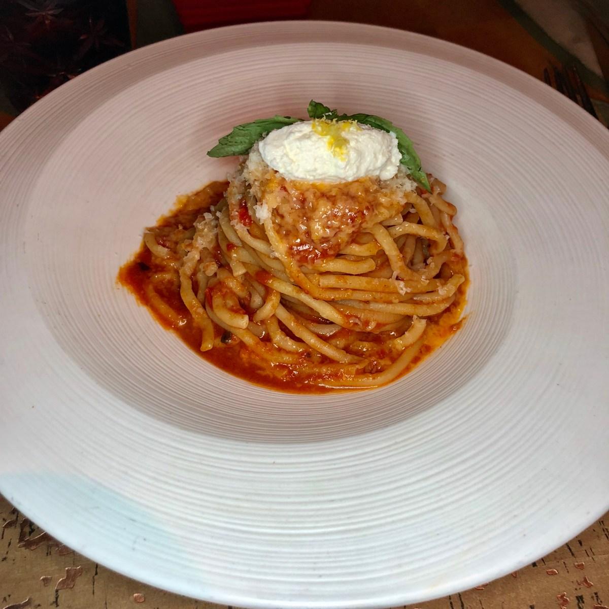 Fresh Bucatini | Giada's at the Cromwell #bucatini #giada #giadarestaurant #giadastrattoria #giadaslasvegas