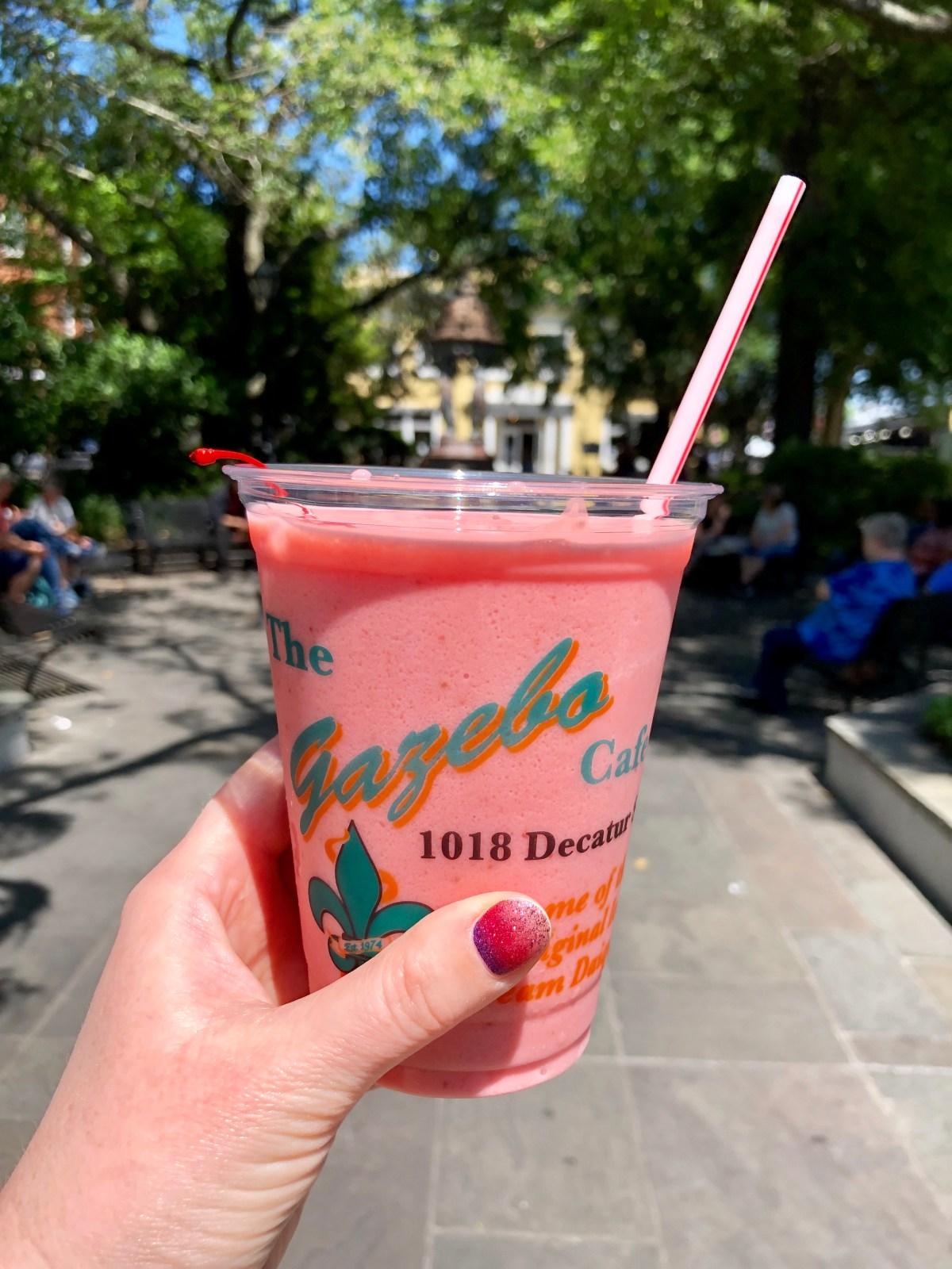 Ice Cream Strawberry Daiquiri | NOLA #gazebocafe #neworleansdrinks #noladrinks #whattoeatinneworleans #icecreamdaiquiri