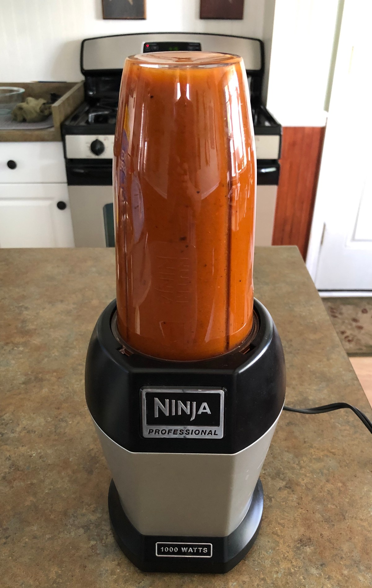 Barbecue sauce blended together in a Ninja blender.