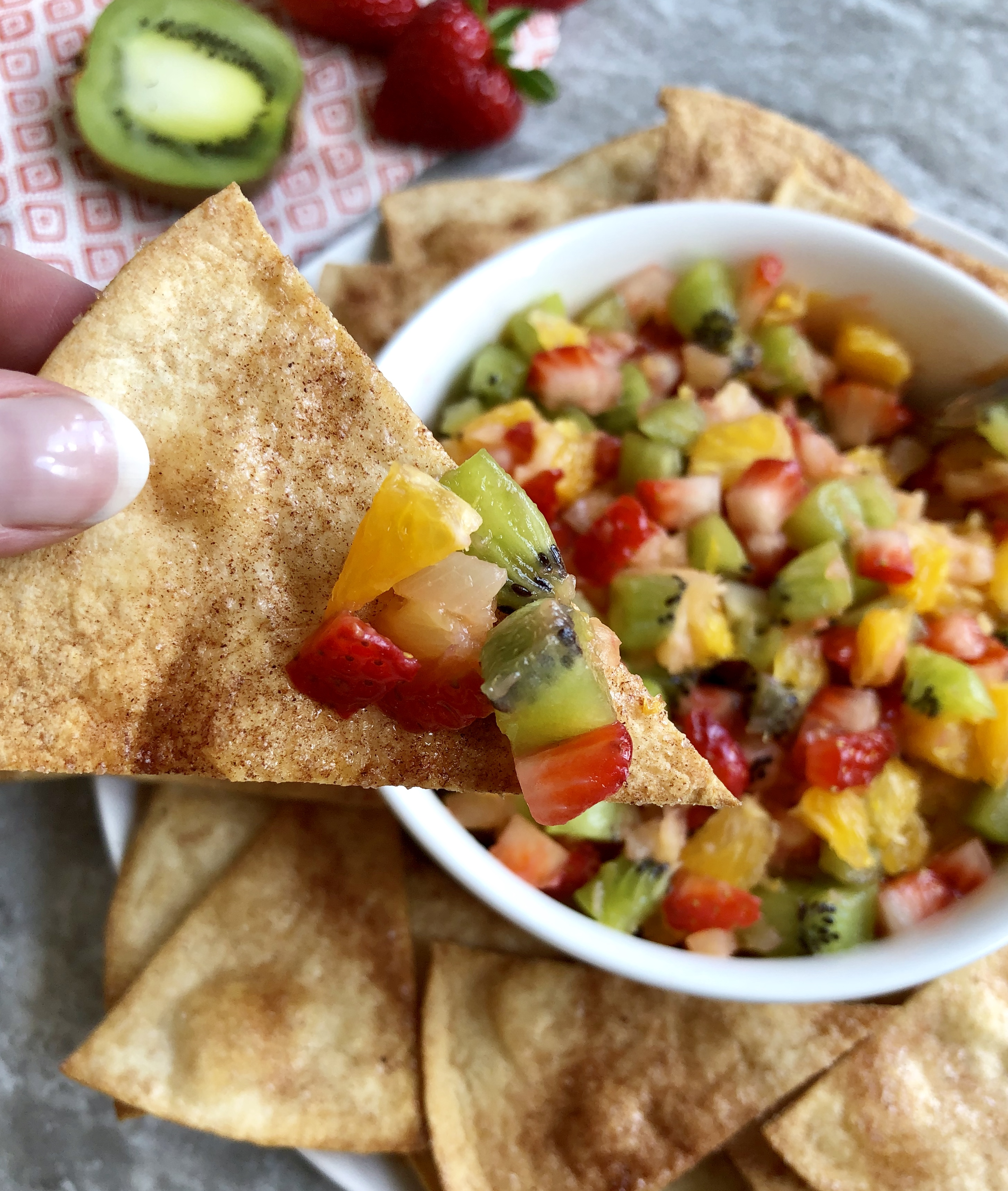 Tropical Fruit Salsa with Cinnamon Chips