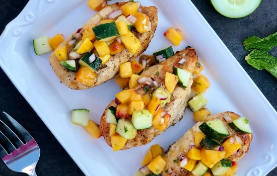 Grilled Chicken with Peach-Cucumber Salsa