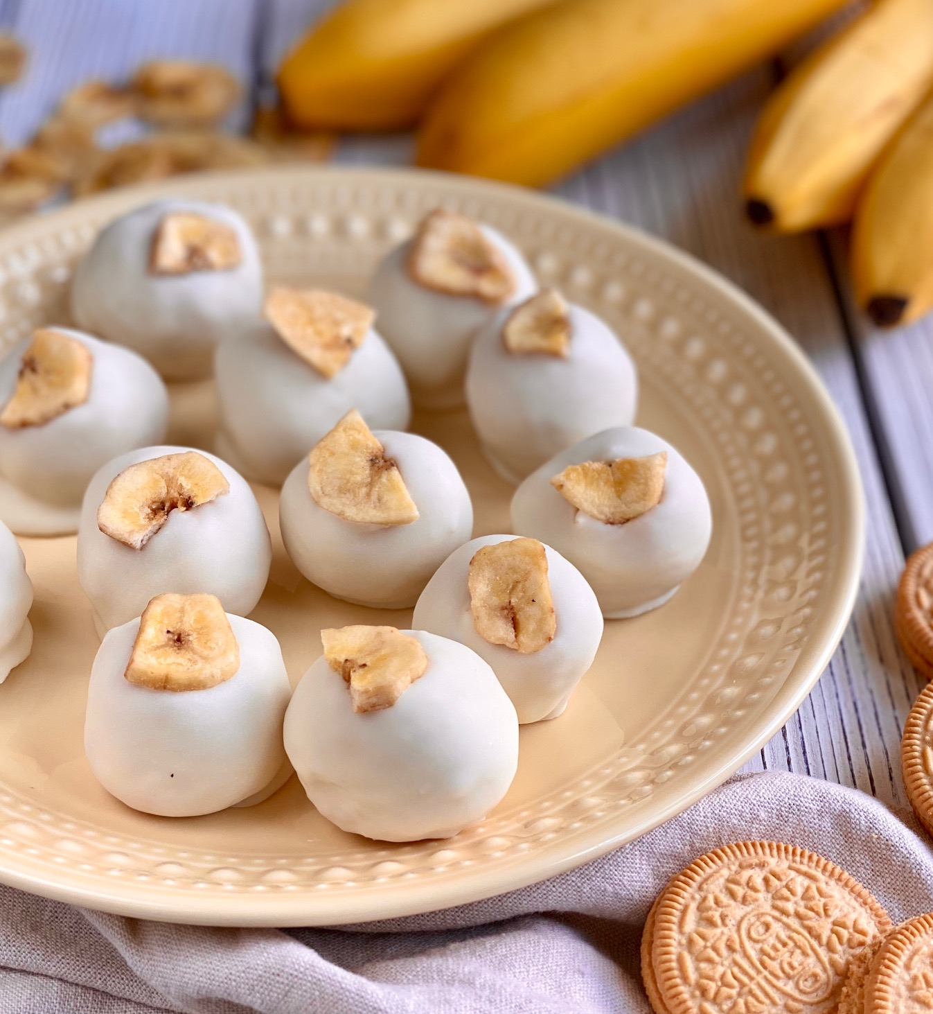 White Chocolate Banana Cream Truffles