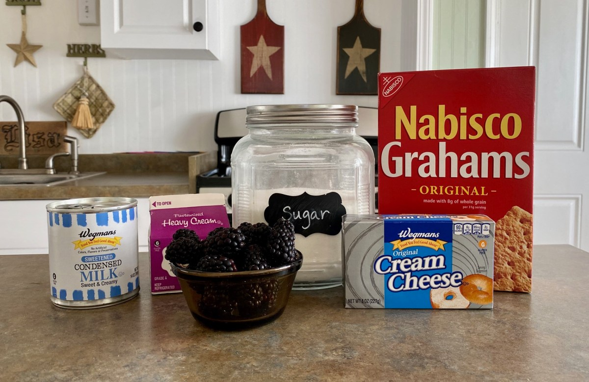 No Churn Blackberry Cheesecake Ice Cream ingredients list #blackberryicecream #icecream #cheesecakeicecream #blackberrycheesecake #nochurnicecream #howtomakeicecream #homemadeicecream #blackberryrecipes