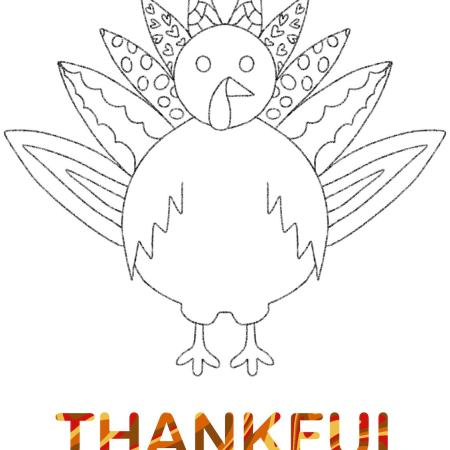 Outline of a turkey coloring page. Text on bottom reads: THANKFUL