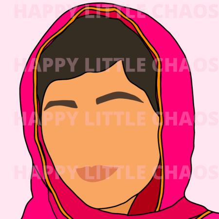 Digital portrait of Malala with watermark HAPPY LITTLE CHAOS