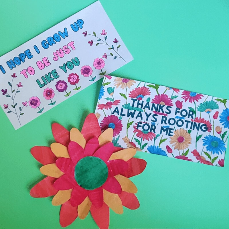 Picture of card: I HOPE I GROW UP TO BE JUST LIKE YOU, card: THANKS FOR ALWAYS ROOTING FOR ME, paper flower