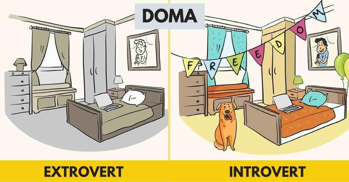 8 ilustrací, které ukazují, jak rozdílně vidí svět introvert a extrovert