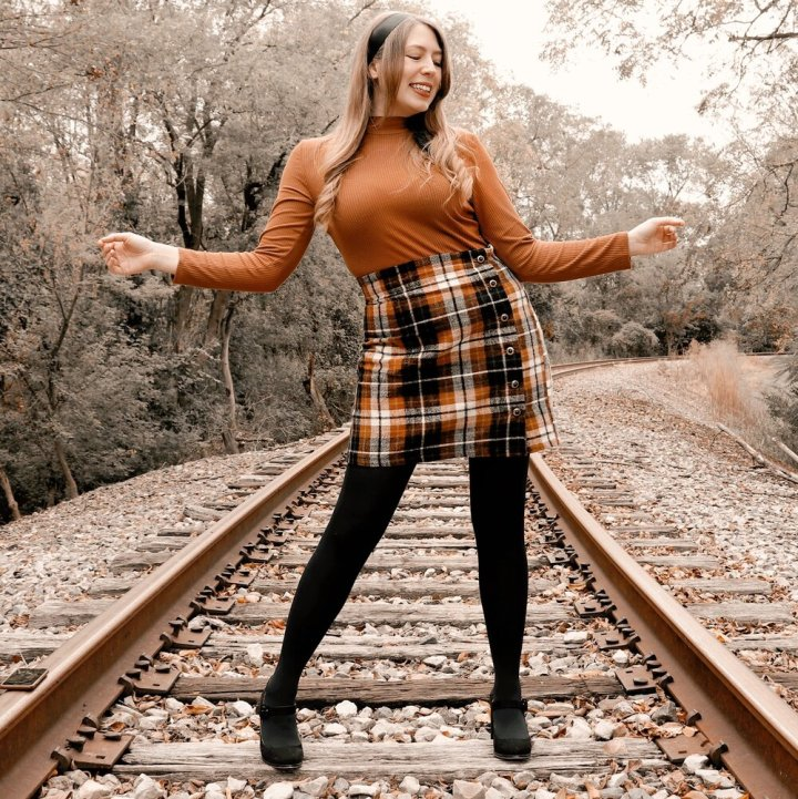 fall plaid skirt with turtleneck top style