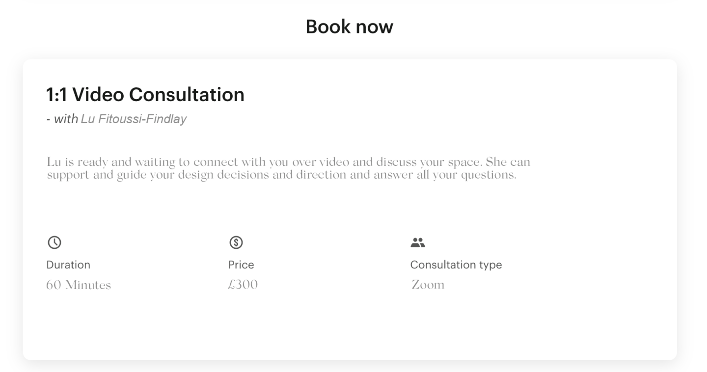 Lu is ready and waiting to connect with you for your interior design consultation over Zoom or skype and guide you through design decisions and direction and answer all your questions.