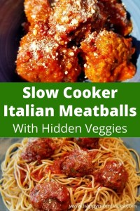 Best Slow Cooker Italian Meatball with hidden Veggies. An easy crockpot recipe to make with Italian sausage, ground turkey, quinoa & zucchini. Plus their gluten free using quinoa instead of bread crumbs. You'll love the smell of these cooking all day in your house and they taste amazing. Try them making these yummy Italian Meatballs today! #italianmeatballs #slowcooker #crockpot