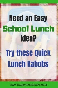 Lunch Kabobs are easy Back to School lunch idea for kids. Easily adaptable for picky eaters. Try different fruits, vegtables and meats on each skewer. It's a fun dish for parties or snacks too. #schoollunch, #snack, #kidsnack, #lunchkabobs