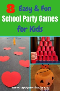 Elementary school party games and ideas for an upcoming classroom party. Let me show you 8 quick and easy party activities including a fun minute to win it game for kids. Use these games at your next Halloween party, end of the year party, Valentines day, winter party and more. You will be the coolest room Mom or Dad!! #schoolparties, #classroomgames, #birthdaygames #minutetowinit
