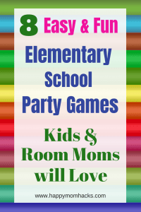 No more school party stress! Just use these 8 fun Elementary School Party Ideas. Great classroom games for kids on halloween, valentaines day, chrsitmas, End of the Year and Winter school parties. #schoolparties, #partyideas, #partygames, #halloweenparty,