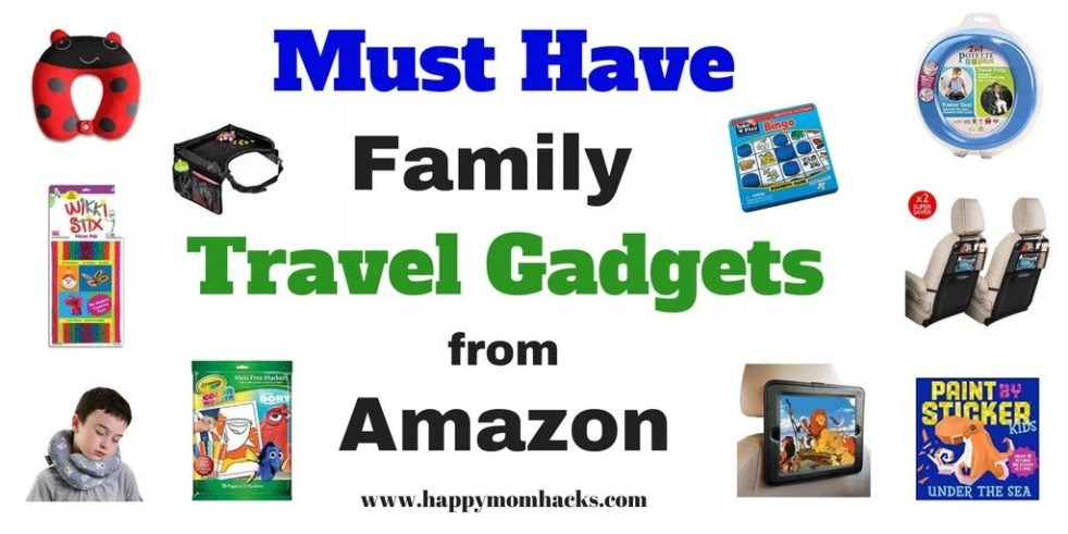 Best Travel Gadgets, Games & Accessories for Road Trips with Kids. Keep them busy and happy while you travel by car or airplane. Fun games for restaurants and hotel rooms too! Make it a great family vacation. #travelgadgets #travelgames #traveltips