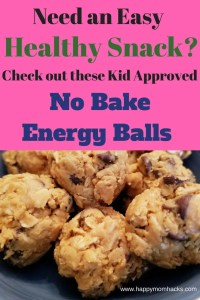 Easy Peanut Butter Energy Balls- A healthy snack for kids and adults. These no bake energy balls are super quick as they are only 4 ingredients. They make a great on the go snack too! #healthysnack, #energyballs, #kidsnackideas, #familysnacks,