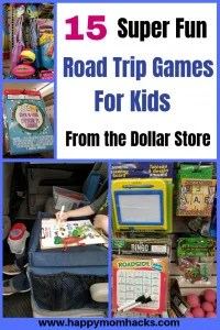15 Awesome road trip games for kids. Find fun things to do on car rides and plane rides to keep the family busy. Save money by finding them all at the dollar store. Cool game ideas like busy bags, Disney toys, activity books, scavenger hunts and more. #roadtripgames, #traveltips, #familyvacation, #roadtrip