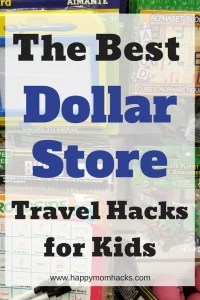 15 Best Dollar Store Tavel Hacks for Road trips with kids. Tips for what to buy for your next car or plane trip. Keep the kids busy and make it a fun family vacation. #familyvacation, #dollarstore, #traveltips