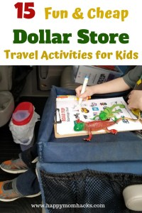 Cheap Travel Activities for kids to use on airplane or car rides. Find fun dollar store travel games & travel hacks to use on your next road trip. Get Busy Bag ideas too.  Save money and entertain your kids to keep your sanity on family vacation. #travelactivities, #familytravel, #dollarstore, #travelhacks, #travelgames
