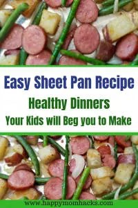 Quick and Easy Sheet Pan Recipe with Sausage and Potatoes. Find great weeknight dinners for family. Healthy and Easy Meals your family will love! #sheetpandinners, #sheetpanrecipe, #easyfamilymeals