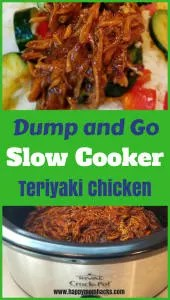 Easy Teriyaki Chicken Crockpot Dinner made with only 4 ingredients. Create easy rice bowls and use the leftovers for Teriyaki Chicken sandwiches.#crockpot, #chicken, #crockpotdinners, #slowcooker