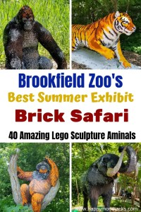 Chicago's Brookfield Zoo this Summer. See the new Exhibit Brick Safari. Tips to visiting this great Chicago attraction with kids. Things to do like the new Brick Safari with 40 Lego sculptured animals, dolphin shows, summer concert series and more. #brookfieldzoo #lego #zoo #animals #chicagoattractions #chicago #familyvacation #traveltips