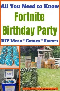Plan the best Fortnite Birthday Party with great DIY Ideas. Learn easy Fortnite games to play and fun favors to give out to the kids. Don't stress just follow this easy party plan with cake, decorations ideas and free printables too. #fortnite, #kidsbirthdayparty, #fornitebirthday