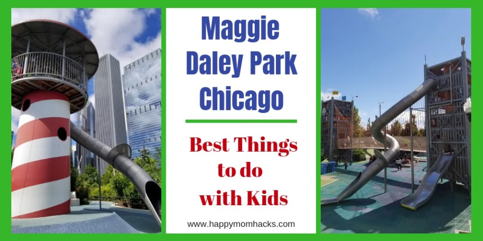 Visit the ultimate playground in Chicago - Maggie Daley Park, Just walk over the ribbons from Millennium Park and find an amazing play area over looking Lake Michigan. Follow this guide to find fun things to do such as ice skating, climbing walls and Play garden. #maggiedaleypark, #chicagoattractions, #traveltips, #familytravel