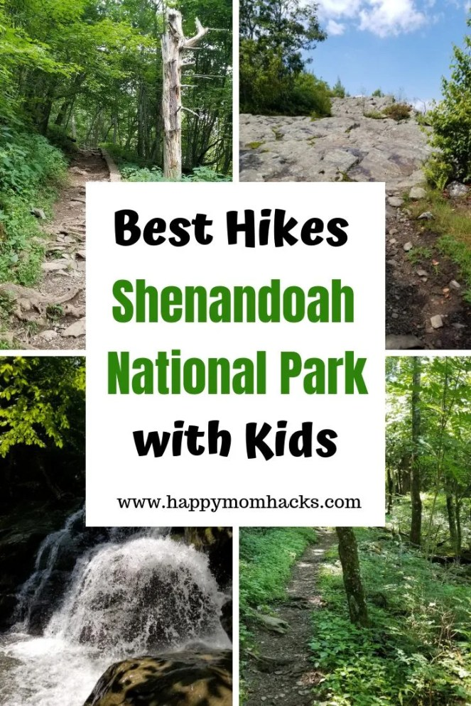 Hiking in Shenandoah National Park. 7 best hikes for kids to waterfalls, on the Appalachian Trail, and to beautiful vista views. Drive the Blue Ridge parkway and Skyline Drive. Plan your trip knowing which hikes are the best for kids and the best things to do while in the National Park. A Complete Guide. #nationalpark, #travelwithkids, #family travel