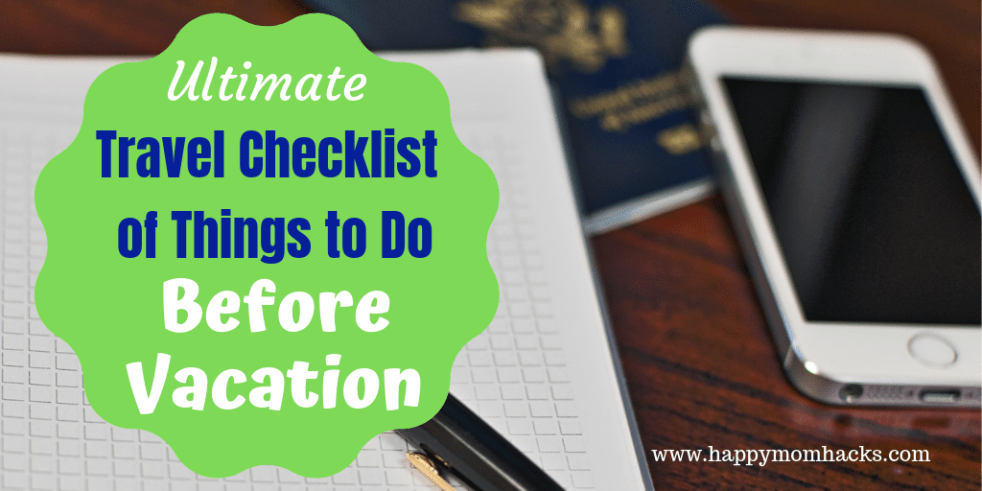 Ultimate Travel Checklist Printable of Things to Do before Vacation. Use this free printable travel checklist PDF and article when preparing for a trip. Never forget the tasks you need to do again! #travelchecklist #vacationchecklist #printable #familytravel #vacation