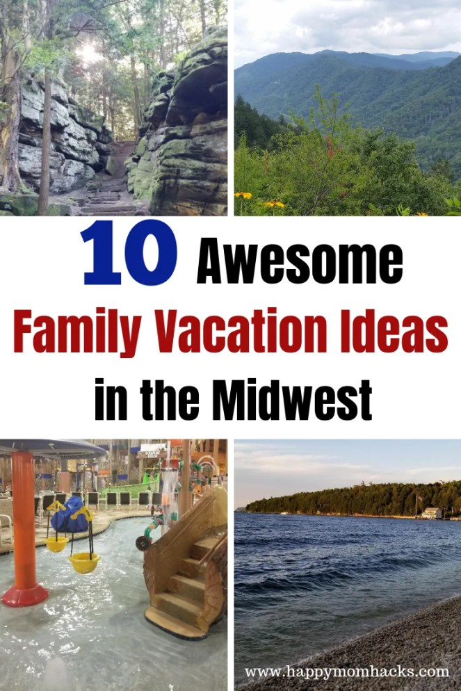 10 Fun Family Vacation Ideas in the Midwest.  Great things to do on 9 different weekend getaways. Find fun water parks, National Parks, beaches, children's museum and more.  Road trips ideas kids will love suggested by real moms in the US. #weekendgetaway #familytravel #familyvacation #traveltips #midwest