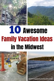 10 Cool Family Vacation Ideas in the Midwest. Fun things to do with kids on 10 different weekend getaways. Find fun water parks, National Parks, beaches, children's museum and more. Road trips ideas kids will love suggested by real moms in the US. #weekendgetaway #familytravel #familyvacation #traveltips #midwest #midwestgetaways