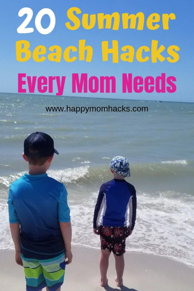 20 Beach Hacks for Kids to help you survive a day at the beach. Easy tips and tricks to use on family vacation or just at your local lake. Check out these beach hacks and make it a memorable summer with the kids.  #beachhacks #beach #familytips #traveltips #familyvacation #travelwithkids #familytraveltips #familytravel