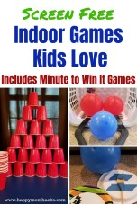 Fun Indoor Games and Activities for Kids. Keep the kids off of screens by having a blast playing these games. Family game night ideas too! Great for rainy days and snowy days. check them out! #kidsactivities #activitiesforkids #game #rainyday