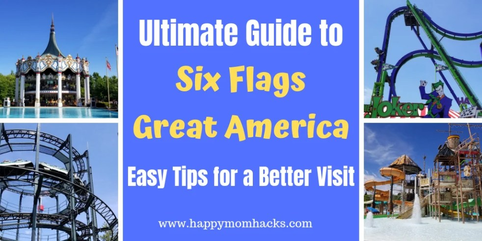 Family Tips for Six Flags Great America Amusement Park. Everything you need to know before you go with kids. Tips on how to save money, the best rides, what to bring with you, holiday events, Hurricane Harbor and more. Be ready for a great day out with the kids at Six Flags. #amusementpark #familyvacation #traveltips #sixflags