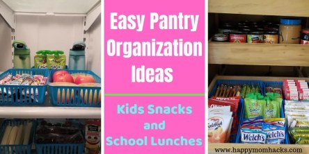 Easy DIY Pantry Organization Ideas for Kids Snacks & School Lunches. How to reorganized your refrigerator and cabinets so kids can pack their own lunches and snacks. Make this school year easier with these quick organizational hacks. #organization #kidsnacks #schoollunches #pantryorganization #householdhacks